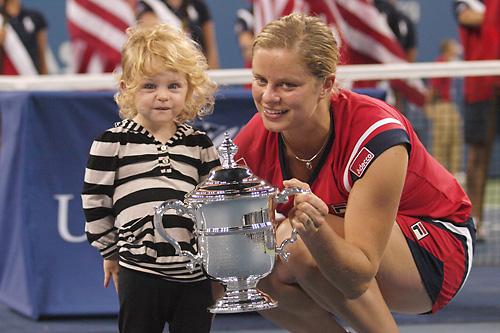 キム・クライシュテルスと愛娘のジェイダちゃん 2009年全米オープン