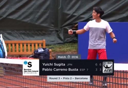 バルセロナオープン 杉田祐一 vs P・カレノ=ブスタ戦 セットザマッチとスコア