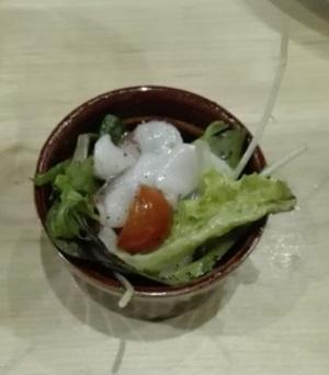 海老が食べられない人向けのタコを使ったお通し(アミューズ) 魚バカ一代 神楽坂店