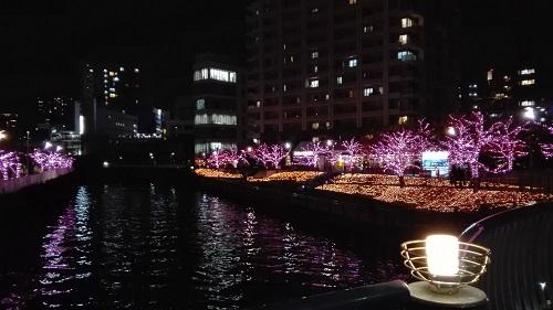 目黒川みんなのイルミネーション2017 五反田ふれあい水辺広場を橋から