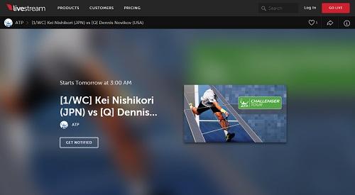 ATP公式ストリーミングページ livestream 錦織圭初戦