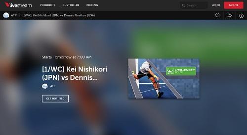 ATP公式ストリーミングページ livestream 錦織圭 復帰第2戦