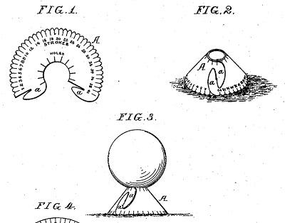 1896年 スコアカード一体型の扇状ゴルフティー特許