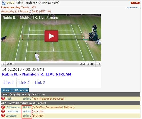 Batmanstream.comの使い方 錦織圭出場のニューヨーク・オープン ダミーボタンは避ける