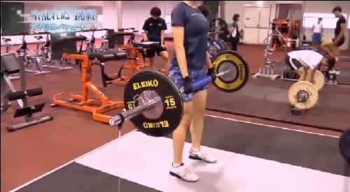 NHK 日本女子団体パシュート ウェイトトレーニングの様子