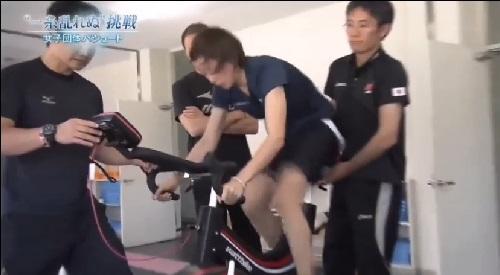 NHK 日本女子団体パシュート トレーニングの様子 ワットバイクを漕ぐ
