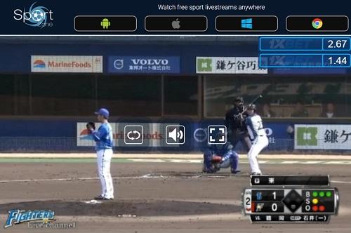プロ野球 オープン戦 ライブストリーミング 視聴画面