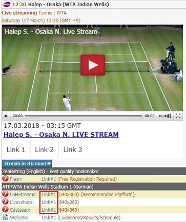 大坂なおみ vs シモーナ・ハレプの試合 BNPパリバ・オープン準決勝