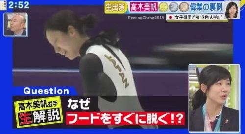 27日放送のフジテレビ系「直撃LIVE グッディ!」 高木美帆のセルフ解説 フードを脱ぐ