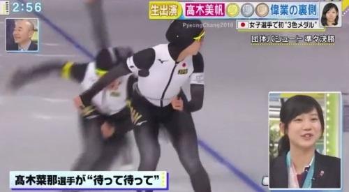 27日放送のフジテレビ系「直撃LIVE グッディ!」 高木美帆のセルフ解説 立ち上がって振り向く