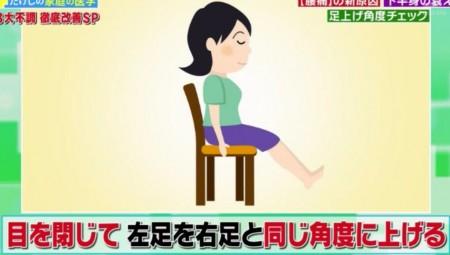 たけしの家庭の医学で紹介!しつこい腰痛の新原因は下半身のセンサーの衰え?改善方法の脳トレーニングのやり方とは?簡単なチェック法 足上げ角度チェックのやり方 その2