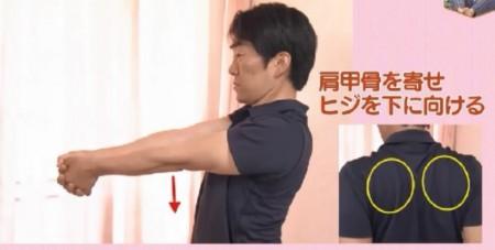 NHKあさイチの自分で治す腰痛特集!理学療法士が指導する肩甲骨の動かし方。肩甲骨を寄せて肘を下に向ける