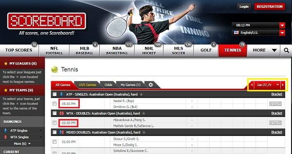 Scoreboard.com スコアボード.com の見方 日付と試合時間の確認