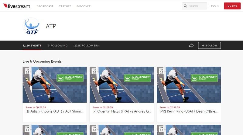ATP公式Livestreamの使い方 チャンネル選択