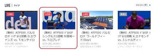 バルセロナ・オープン 1回戦 杉田祐一 vs T・ロブレド スポナビライブの見方