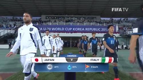 FIFA U-20 ワールドカップ 韓国大会2017 5月27日(土) グループD 日本 vs イタリア戦 試合結果、ゴールシーン