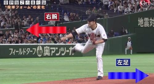 テレビ朝日「Get Sports(ゲットスポーツ)」 6月4日放送 巨人・菅野智之の進化 キックバック動作によって右腕が前に出る