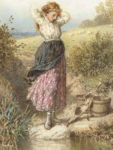酪農場で働く乳搾りの女給