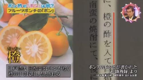 NHK 第2弾「チコちゃんに叱られる!」 レモンの代用として橙(だいだい)