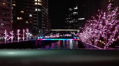 目黒川みんなのイルミネーション2017 御成橋から眺めた鈴懸歩道橋の虹色イルミ