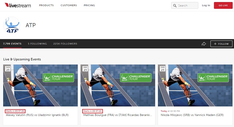 ATP公式ストリーミングページ livestreamの使い方