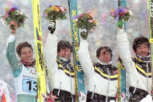1998年長野オリンピック 雪の中のフラワーセレモニー メダル授与は別会場
