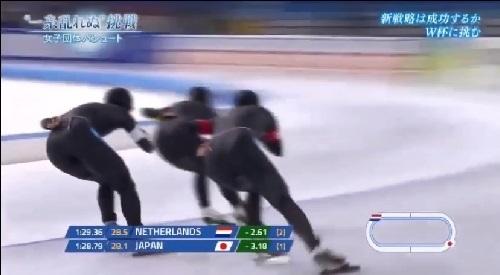 NHK 日本女子団体パシュート 2017年11月10日 W杯 ヘーレンフェーン大会 佐藤のラップ
