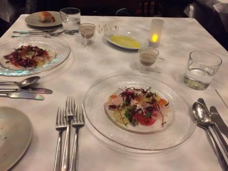 2018年 RIGOLETTO WINE AND BAR リゴレット ワイン&バーのクリスマス特別コース 石川県産燻製ブリのカルパッチョ仕立て いくらと柚子のヴィネグレット