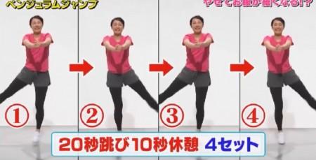 ソレダメ紹介の跳ぶだけダイエットのやり方。お腹とお尻に効くペンジュラムジャンプのやり方