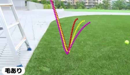 テニスボールに毛がある理由その1 バウンドが安定するから。毛ありの普通のテニスボールを弾ませる実験