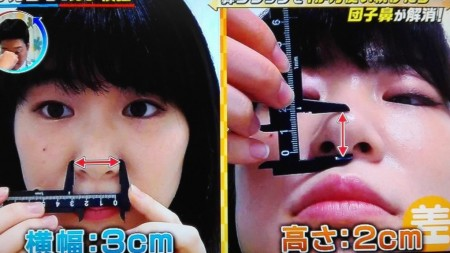 この差って何?からノーズクリップを1ヶ月続けると団子鼻の鼻筋はキレイに通る?番組スタッフがTVでガチ検証 検証前データ
