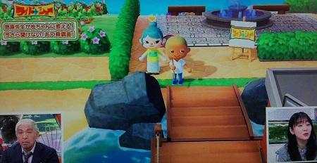 ワイドナショーであつ森をプレイする松ちゃんと指原莉乃 松ちゃんの分身キャラクター