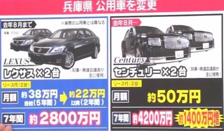 兵庫県の公用車センチュリーの値段 レクサスとの比較