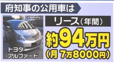 大阪府の公用車 トヨタ アルファード 値段は年額94万円