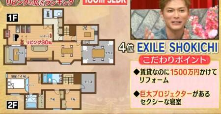 EXILE SHOKICHIの自宅 賃貸マンション3LDKの間取り