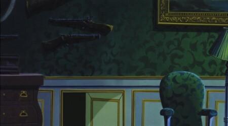 ルパン三世 カリオストロの城 壁にかかっている銃はブランダーバスとホイールロック式マスケット銃