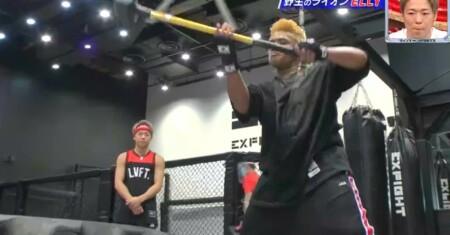 三代目JSB ELLYのボクサー風タイヤ叩き ハンマートレーニング