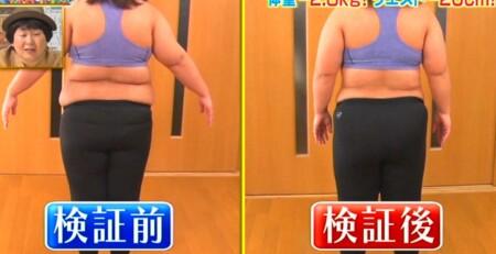 それって実際どうなの課 バランスボール椅子のダイエット効果は?ビフォーアフター 餅田コシヒカリの背中から比較