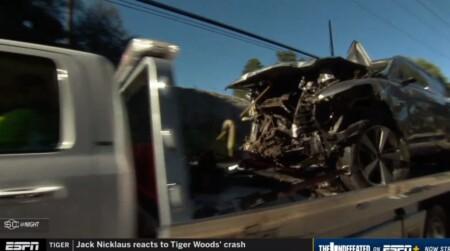タイガーウッズの主な怪我経歴は?2021年2月の交通事故で大破した車