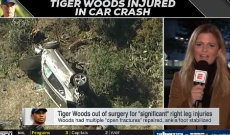 タイガーウッズの主な怪我経歴は?2021年2月の交通事故を伝えるESPNニュースと大破した車