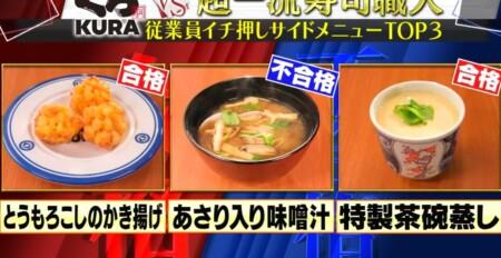ジョブチューン くら寿司人気サイドメニューランキングベスト3の合格不合格ジャッジ結果