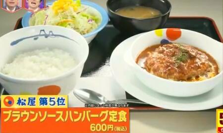 林修のニッポンドリル 2021年版松屋の売上ランキングベスト5 第5位ブラウンソースハンバーグ定食