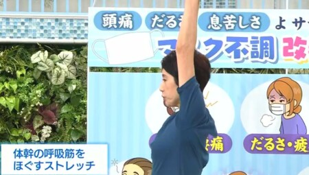 NHKあさイチ マスク不調改善SP 口呼吸・かくれ酸欠を解消する肺活トレーニング 秋野暢子の呼吸筋ストレッチ 体幹