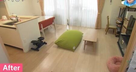 NHKあさイチ 3日間で完成!二度と散らからない・リバウンドしない片付け術のやり方は?リビングのアフター画像