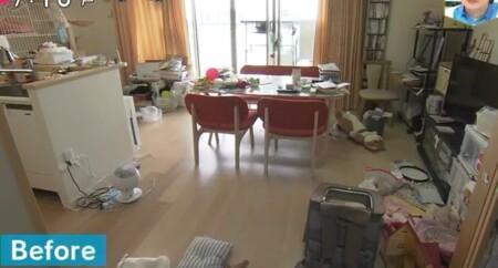 NHKあさイチ 3日間で完成!二度と散らからない・リバウンドしない片付け術のやり方は?リビングのビフォー画像