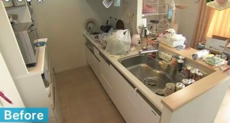 NHKあさイチ 3日間で完成!二度と散らからない・リバウンドしない片付け術のやり方は?2日目キッチンのビフォー画像