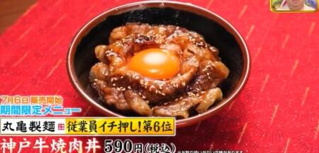 ジョブチューン 2021 丸亀製麺メニュー人気ランキングベスト5の合格不合格ジャッジ結果は?第6位 神戸牛焼肉丼