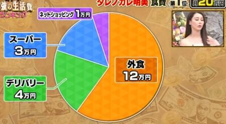 ダレノガレ明美の生活費は1か月120万超!食費に20万円