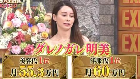 ダレノガレ明美の美容代・洋服代は1か月100万オーバー