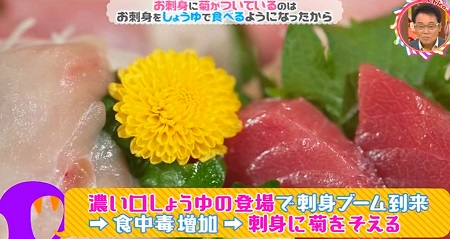 お刺身に菊がつく意味は?答えは醤油と菊の関係性?チコちゃんに叱られる